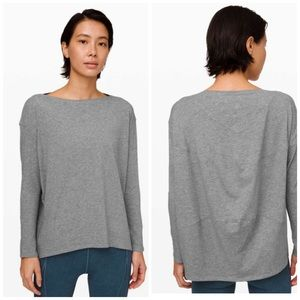 LULULEMON 10 Gray Back In Action Long Sleeve Gray